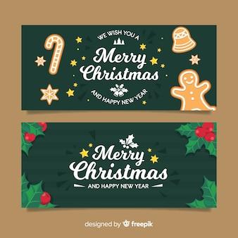 Banner felicitación navidad galletas de gengibre muérdago