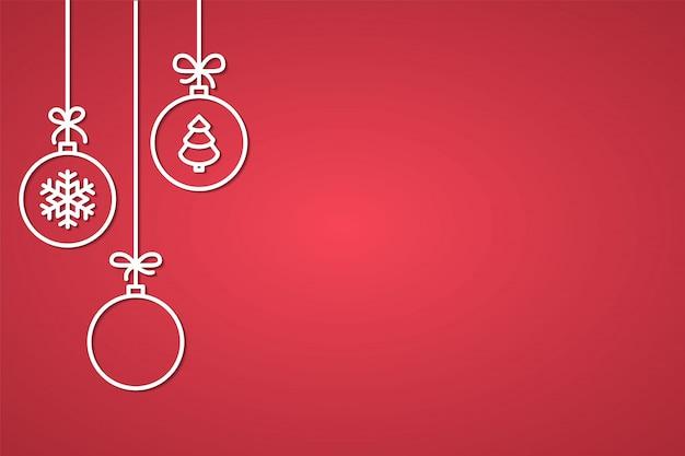 Banner de felicitación navideña y año nuevo con bolas de árboles decorativos de línea