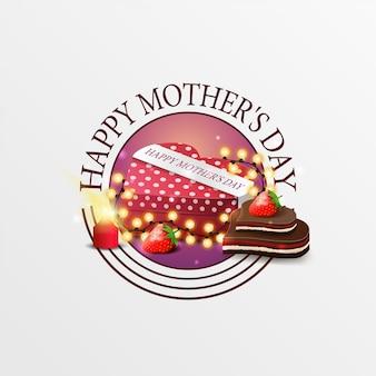 Banner de felicitación redondo para el día de la madre. Vector Premium