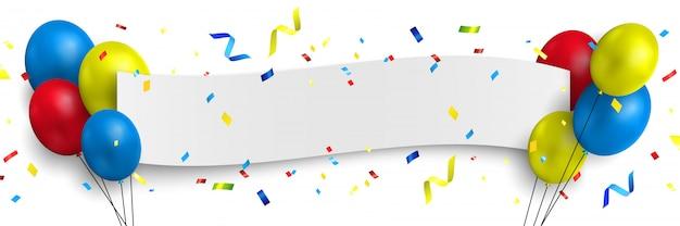 Banner de felicitaciones blanco con globos y confeti. ilustración.