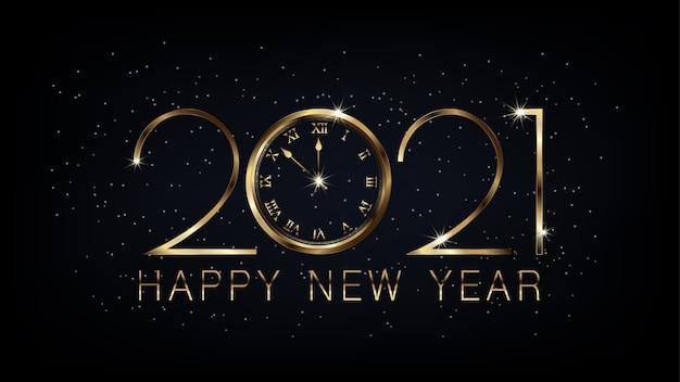 Banner de feliz año nuevo 2021 con diseño de lujo dorado