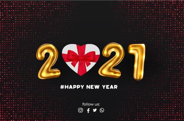 Banner de feliz año nuevo 2021 con fondo abstracto