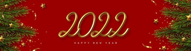Banner de feliz año nuevo 2022.