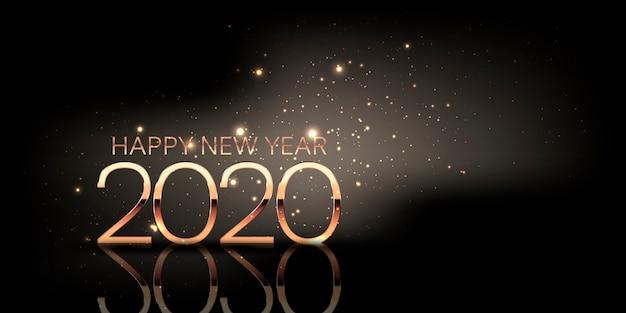 Banner de feliz año nuevo con diseño brillante y números dorados metálicos