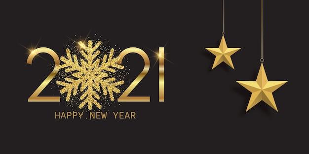 Banner de feliz año nuevo con diseño de copo de nieve brillante y estrellas colgantes