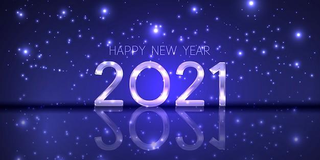 Banner de feliz año nuevo con un diseño moderno y brillante