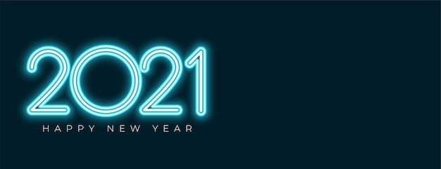 Banner de feliz año nuevo estilo neón con espacio de texto