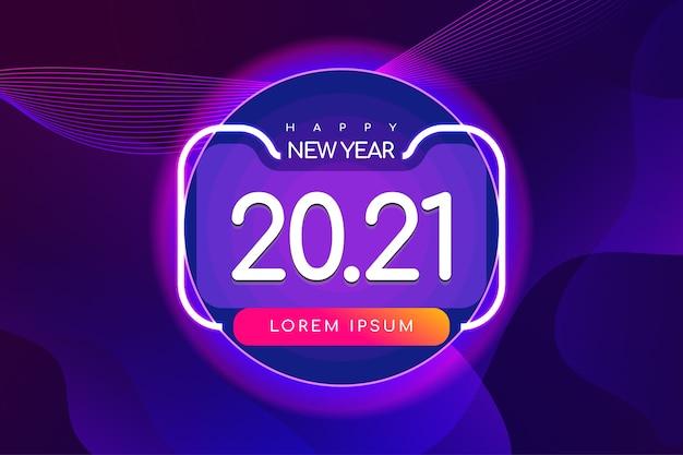 Banner de feliz año nuevo con fondo futurista