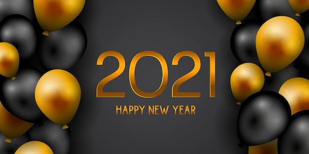 Banner de feliz año nuevo con globos decorativos dorados y negros