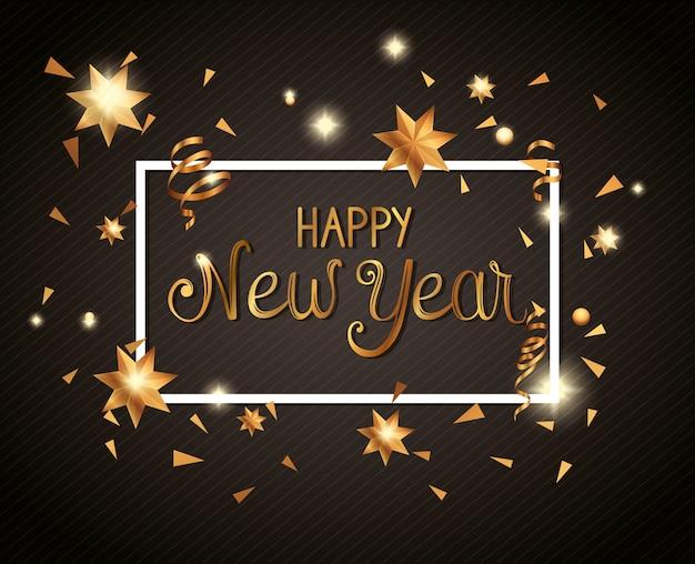Banner de feliz año nuevo en marco