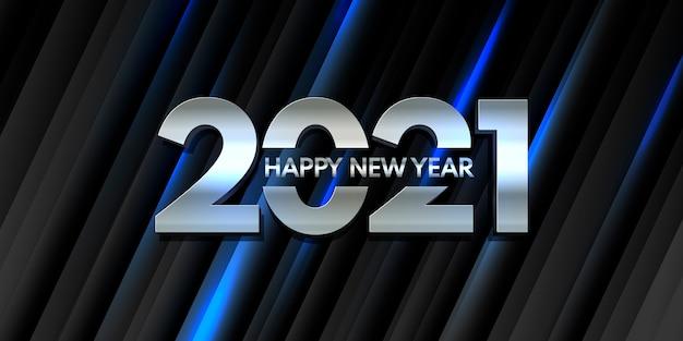 Banner de feliz año nuevo con moderno diseño metálico