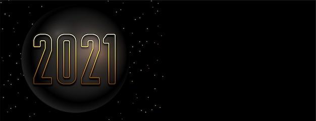 Banner de feliz año nuevo negro y dorado