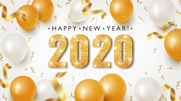 Banner de feliz año nuevo con números de oro 2020 sobre fondo brillante con confeti volador y globos festivos