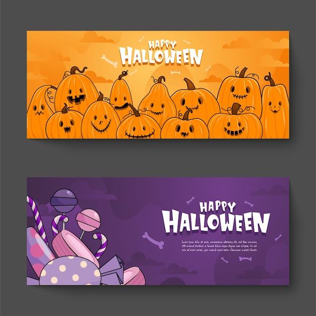 Banner de feliz celebración de halloween