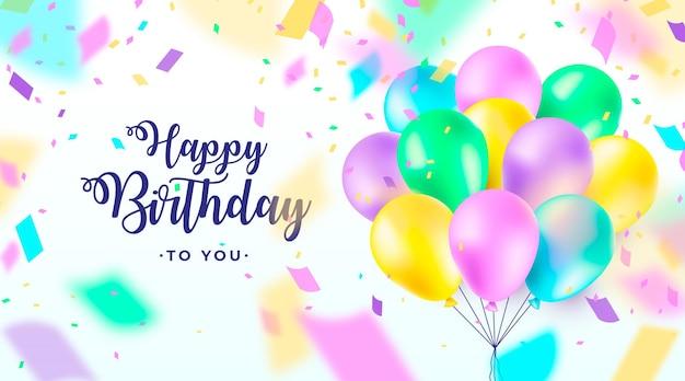 Banner de feliz cumpleaños alegre con globos 3d realistas