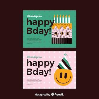 Banner feliz cumpleaños en diseño plano