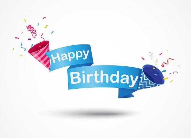 Banner de feliz cumpleaños con fiesta popper