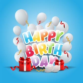 Banner de feliz cumpleaños con globos blancos y confeti sobre fondo azul.