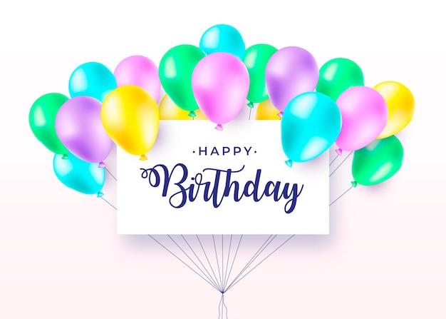 Banner de feliz cumpleaños con globos realistas y coloridos