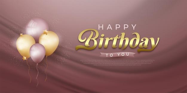 Banner de feliz cumpleaños con globos realistas