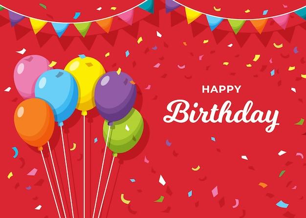 Banner de feliz cumpleaños sobre fondo rojo