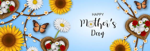 Banner de feliz día de la madre con flores, mariposas y nidos en forma de corazón