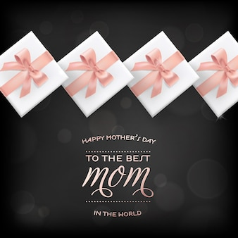 Banner de feliz día de las madres con caja de regalo. tarjeta de felicitación del día de la madre con texto de caligrafía y regalos para publicidad, venta de primavera, cartel, volante, folleto. ilustración vectorial