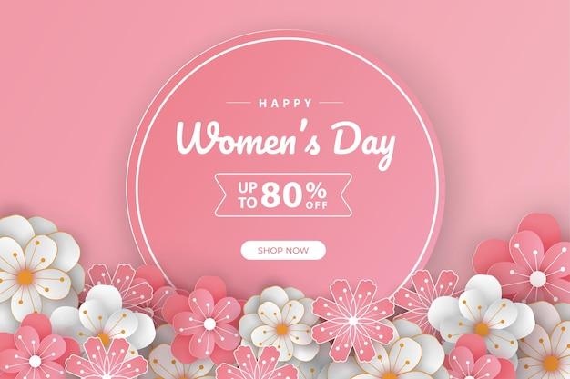 Banner de feliz día de la mujer, arte de corte de papel.