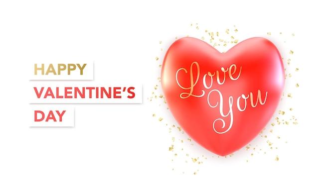 Banner de feliz día de san valentín con corazón rojo