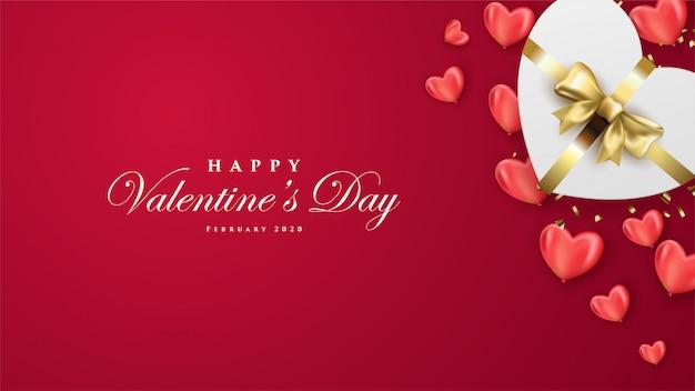 Banner de feliz día de san valentín con corazones blancos realistas