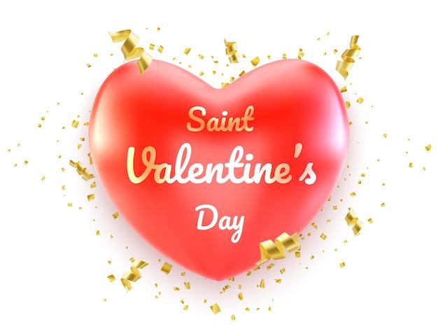 Banner de feliz día de san valentín con corazones rojos y serpantino