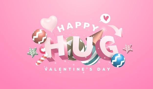 Banner de feliz día de san valentín con diseño de texto, bola, estrella, elementos de globos de corazón. objetos encantadores sobre fondo rosa