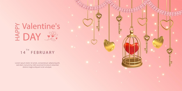 Banner de feliz día de san valentín. llaves colgantes, jaula dorada, corazones y guirnalda de flores rosadas