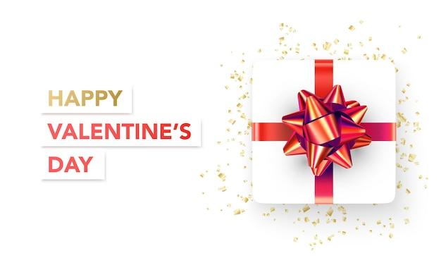 Banner de feliz día de san valentín con regalo y serpantine
