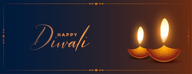 Banner de feliz diwali brillante dos diya
