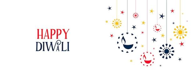 Banner de feliz diwali con coloridas diya planas y estrellas