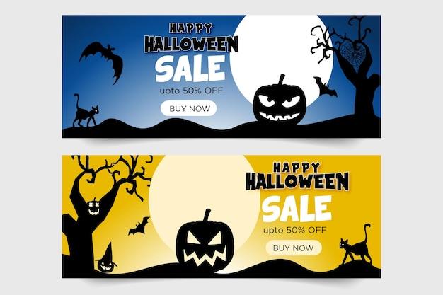 Banner de feliz halloween y árbol y calabaza y murciélagos y gato