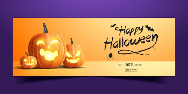 Banner de feliz halloween, banner de promoción de venta con calabazas de halloween. ilustración 3d