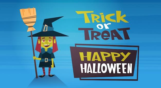 Banner feliz halloween con bruja de dibujos animados lindo, truco o trato