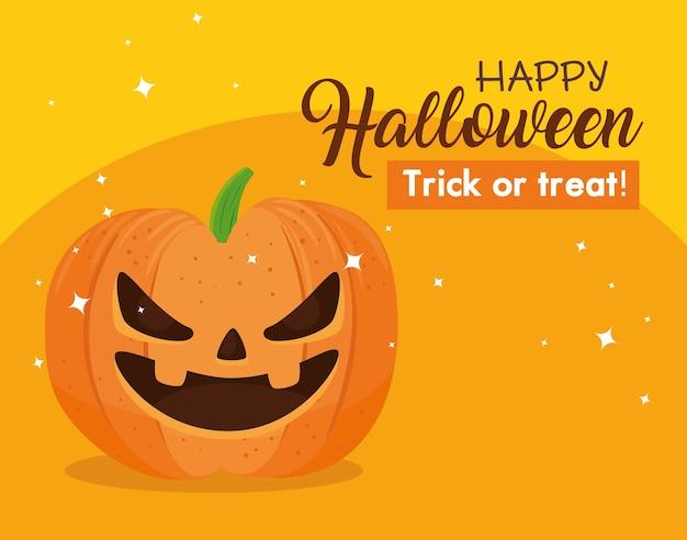 Banner de feliz halloween con calabaza aterradora sobre fondo naranja