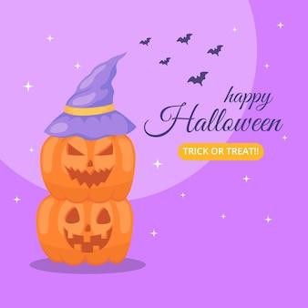 Banner de feliz halloween con calabaza.
