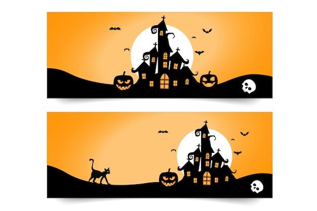Banner de feliz halloween con calabazas y murciélagos y gato