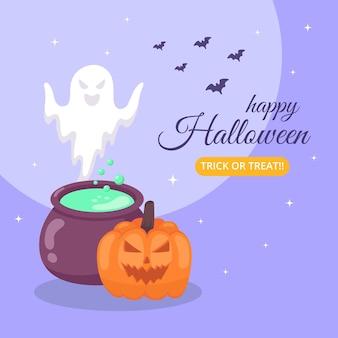 Banner de feliz halloween con caldero y fantasma.