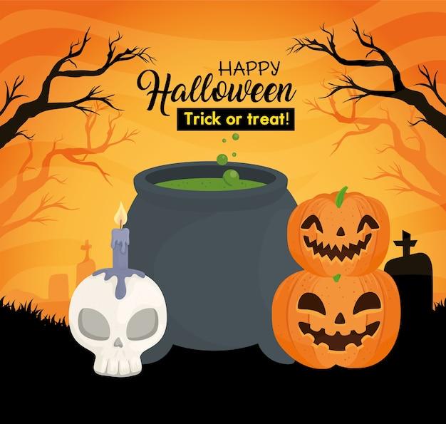 Banner de feliz halloween con caldero, hueso de cráneo y calabazas