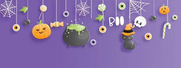 Banner de feliz halloween. celebraciones de halloween en estilo de corte de papel.