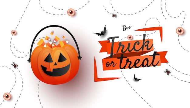 Banner de feliz halloween. cubo de calabazas jack o lantern con dulces dulces, murciélagos sobre fondo blanco con texto