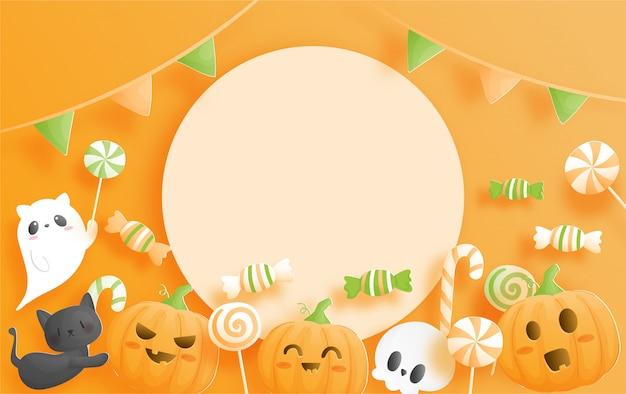 Banner de feliz halloween en estilo de corte de papel.