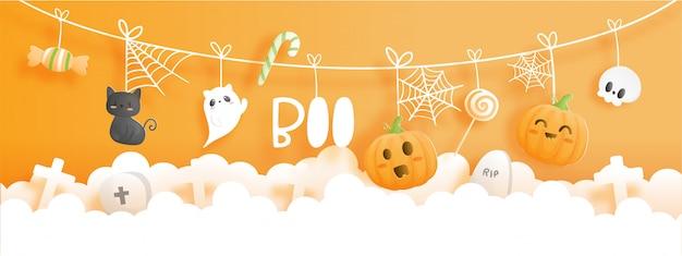 Banner de feliz halloween. fiesta de halloween en estilo de corte de papel.