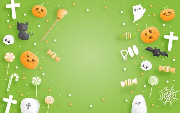 Banner de feliz halloween. ilustración de corte de papel.