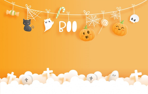 Banner de feliz halloween. ilustración de estilo de corte de papel.